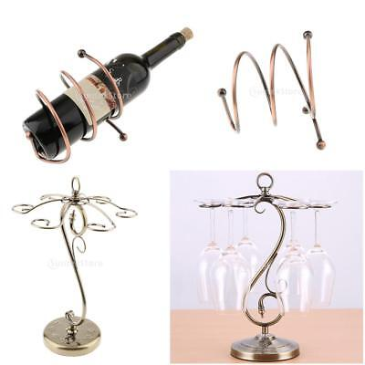 Set 2 Retro Metal Red Wine Glass Hanging Rack Stand Wine Bottle Holder Rack