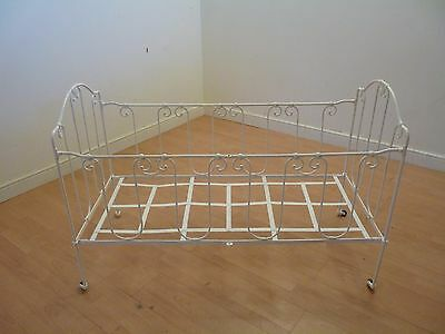 Antique French wrought iron Metal Victorian Cot day Bed nursery vintage fold up