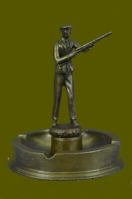 Western Art sculpture Deco Bronze Hot Cast Hunter Hunting Belle Ashtray Deal