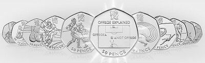 Cheap Rare & Commemorative Olympic 50P Coins - Judo, Football, Triathlon Etc
