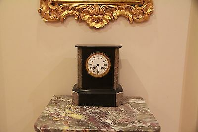 Antique French Marble and Slate Mantle Clock late 1800's