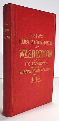 WASHINGTON DC Keims Illustrated Hand Book 1888 LARGE FOLD OUT MAP