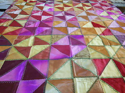 "Antique Jewel Tones Satin Patchwork Crazy Quilt Top 100"" X 88"" Hand Feather"