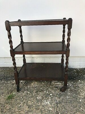 Vintage Oak Tea Trolley 3 Tier Original Casters Barley Twist Legs