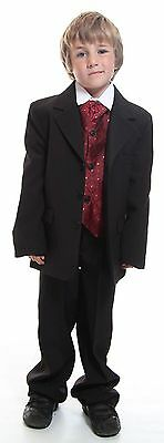 Boys 5 Piece Formal Kids Suit Burgandy Ideal For Wedding Dinner Dress Age 1-16