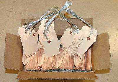 """manila shipping inventory tags 4-3/8"""" 2-1/8"""" wired strung - qty 500 for 1 price"""