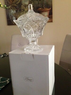 JG Durand France 24% lead crystal candy dish with lid New in Box