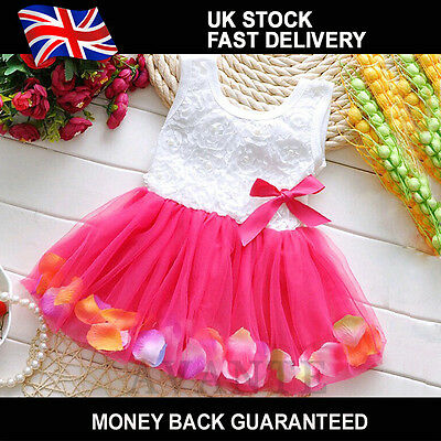 New Toddler Baby Kid Girls Princess Dress Party Tutu Lace Bow Flower Dress lot