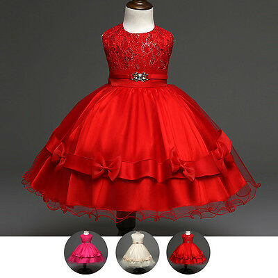 Sequins Tutu Dress Flower Girls Bow Princess Gown for Kid Birthday Wedding Party