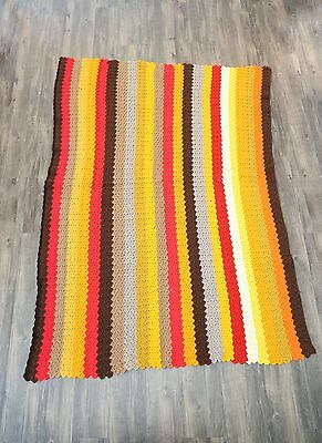 Vintage 70s Mid century modern crochet knit striped throw camp blanket rug 47x64