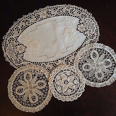 Beautiful Cream Duchess Doily Set 4 Pieces Embroidered Table Linen Dressing