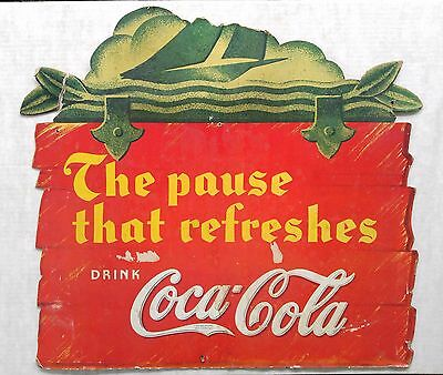 """RARE!! 1929-1941 Coca Cola Cardboard Sign """"The Pause That Refreshes"""" (21"""" X 19"""")"""