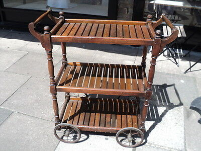 Very Rare Victorian Solid Wood Serving Trolley Dining Display With Big Wheels