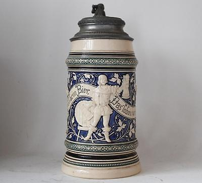 Antique German Beer Stein by R.Merkelbach Renaissance Characters #679 c.1880s