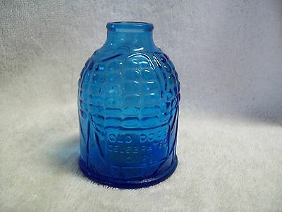 """Vintage Wheaton Blue Glass """"Old Doc's Celebrated Cure"""" Bottle"""