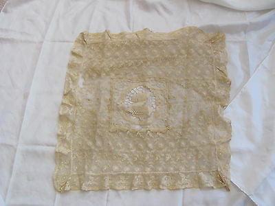 """Beautiful Antique Net Tambour Lace Pillow Cover Early Century 18"""" Needs Repair"""