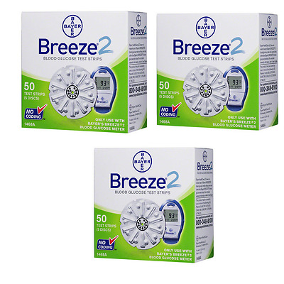 Bayer Breeze 2 Test Strips - 150 Count (3 Box of 50)