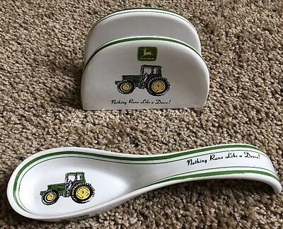 John Deere Gibson Spoon Utensil Rest & Napkin Holder Kitchenware Set