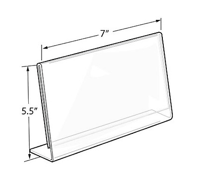 "Azar 7""x5.5"" Horizontal Slanted L-Shape Acrylic Sign Holder Table Tent 10-Pack"