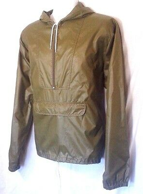 Vintage IZOD Lacoste 1/2 Zip Nylon Rain Jacket Windbreaker OD Green Men's Size L