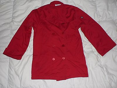 Unisex Women's Cook Chef Works Lightweight Coat Jacket Shirt Red  Extra Small