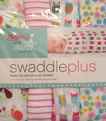 Aden + Anais Zutano Swaddle Plus 4 Pack New Muslin Owl Stripes Flowers Girl Baby