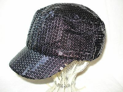 Girls Black Sequined Hat Small
