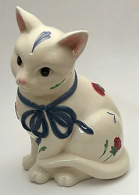 Lenox Poppies On Blue The Barnyard Collection Kitten Figural Cat Cookie Jar