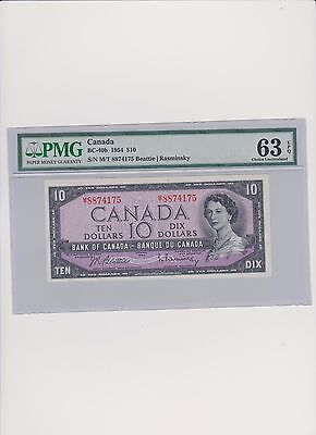 Canada 10 Dollars 1954 MS 63 PMG Certified
