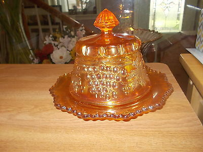 NORTHWOOD Marigold GRAPE & CABLE Covered Butter Dish