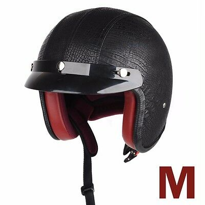 Universal Motorcycle Black Leather Half Face Protect Harley Helmet With Visor M