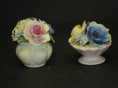 "2 Vintage  Bone China England Flower Baskets Charlie Radnor About 3"" Tall"