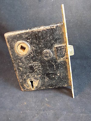 "ANTIQUE MORTISE Door Cylinder Cast Iron PENN door lock and opener 3.75"" by 3.25"""