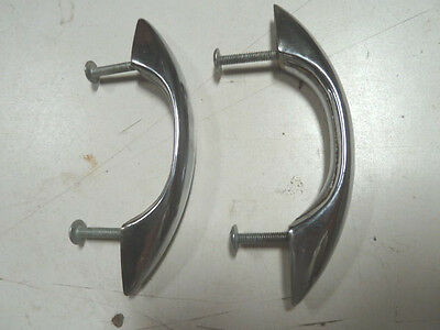 2 - Vintage Metal Cabinet Drawer  Door Handle Pull Chrome