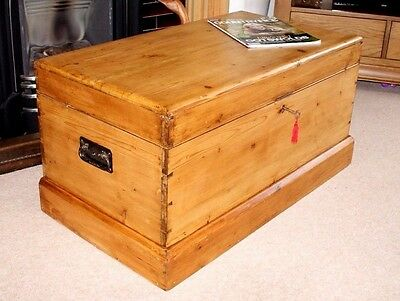 A Lovely Antique Victorian Pine Dovetailed Blanket Box, Coffee Table, Toy Box