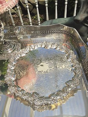 Antique English Victorian Silver Plate Footed Round Tray with – 13 inches