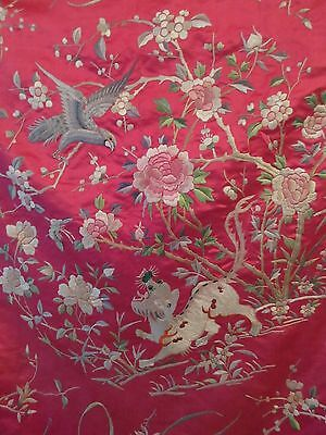 BEAUTIFUL 1900's BRIGHT FUCHSIA Antique Chinese SILK Tapestry Piano Shawl