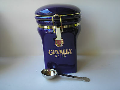 Blue Gevalia Cansiter with coffee measuring spoon