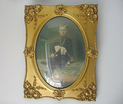 stunning Antique 19C Victorian Ornate Frame Gold Gilt w 14x20 Oval Bubble Glass