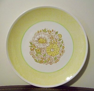 """Taylor Smith & Taylor Nosegay 12"""" Chop Plate Round Platter Yellow Floral Vintage"""