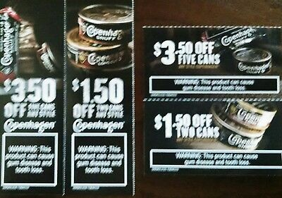 (2) $3.50 off any 5 cans & (2) $1.50 off any 2 cans Copenhagen coupons Exp 8/31/