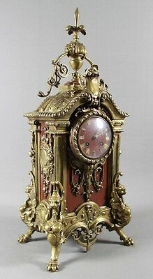 A 19Th C. French Renaissance Revival Rouge Marble And Gilt Bronze Mantle Clock