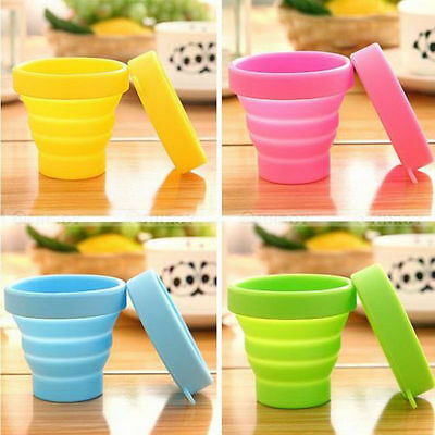 Silicone Folding Cup Telescopic Collapsible Lid For Sport Outdoor Travel Camping