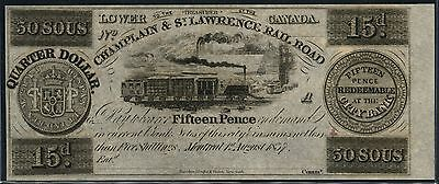 Canada Obsolete Banknote 15 Pence Champlain & St Lawrence R/r 8/1/1837 Bt8995