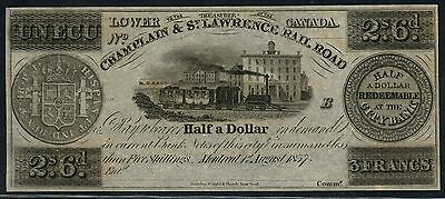Canada Obsolete 2 Shillings 6 Pence Champlain & St Lawrence R/r 8/1/1837 Bt8996