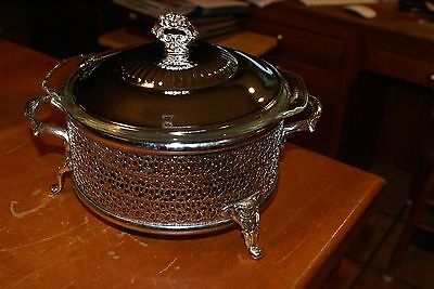 Vtg Ornate Chrome Footed Round Casserole Holder Fire King 1.5Qt Glass Bowl Lid