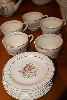 Antique 6 SAUCERS/5 CUPS Fine China Marked On The Bottom 32 GOLD RIM,INSIDE GOLD