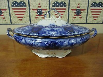 Maddock  ( Dainty )  Flow Blue Covered Veg. Dish , Gold  Trim   1896  Excellent