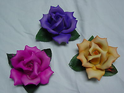 Capodimonte Roses Italy Porcelain lot of 3 pink purple yellow