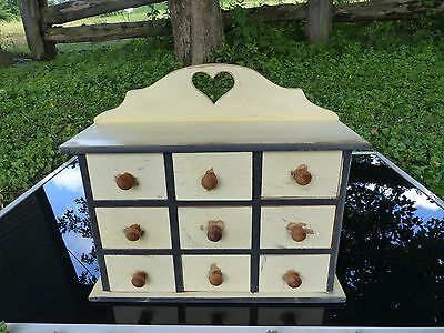 vintage heart spice wall box 9 drawer apothecary buttermilk milk paint finish